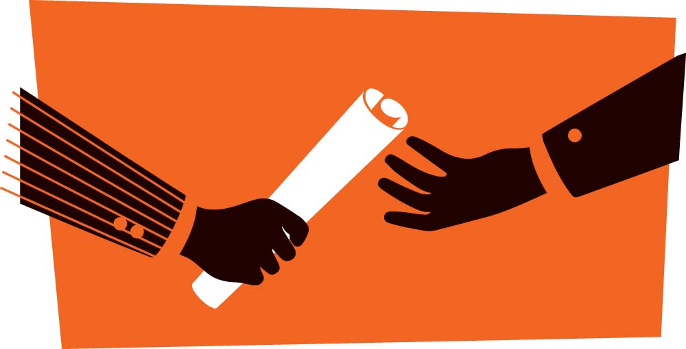 illustration of two business people handing over a rolled up document